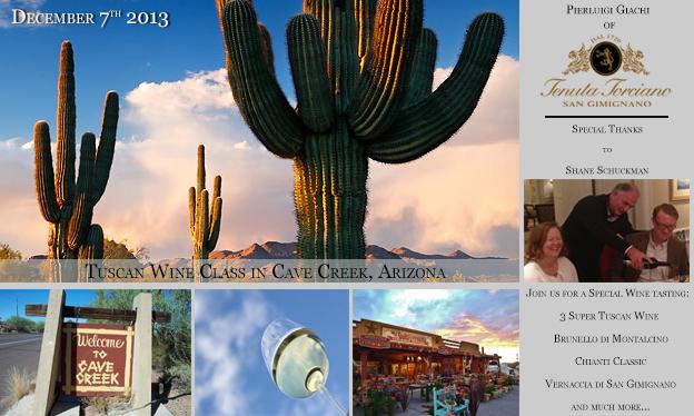 Lezioni di Vino Toscano a Cave Creek in Arizona il 7 Dicembre 2013