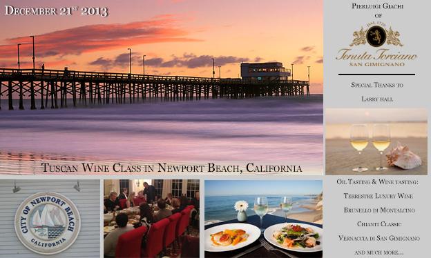 21 Dicembre – Lezioni di Vino Toscano a Newport Beach – California