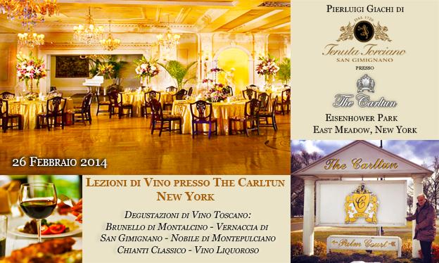 Lezioni di Vino Toscano presso The Carltun, New York – 26 Febbraio 2014