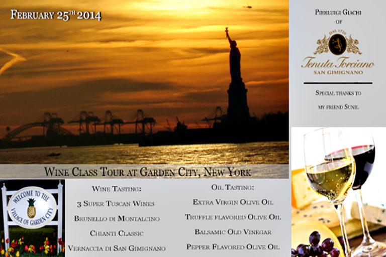 Lezioni di Vino Toscano a Garden City, New York – 25 Febbraio 2014