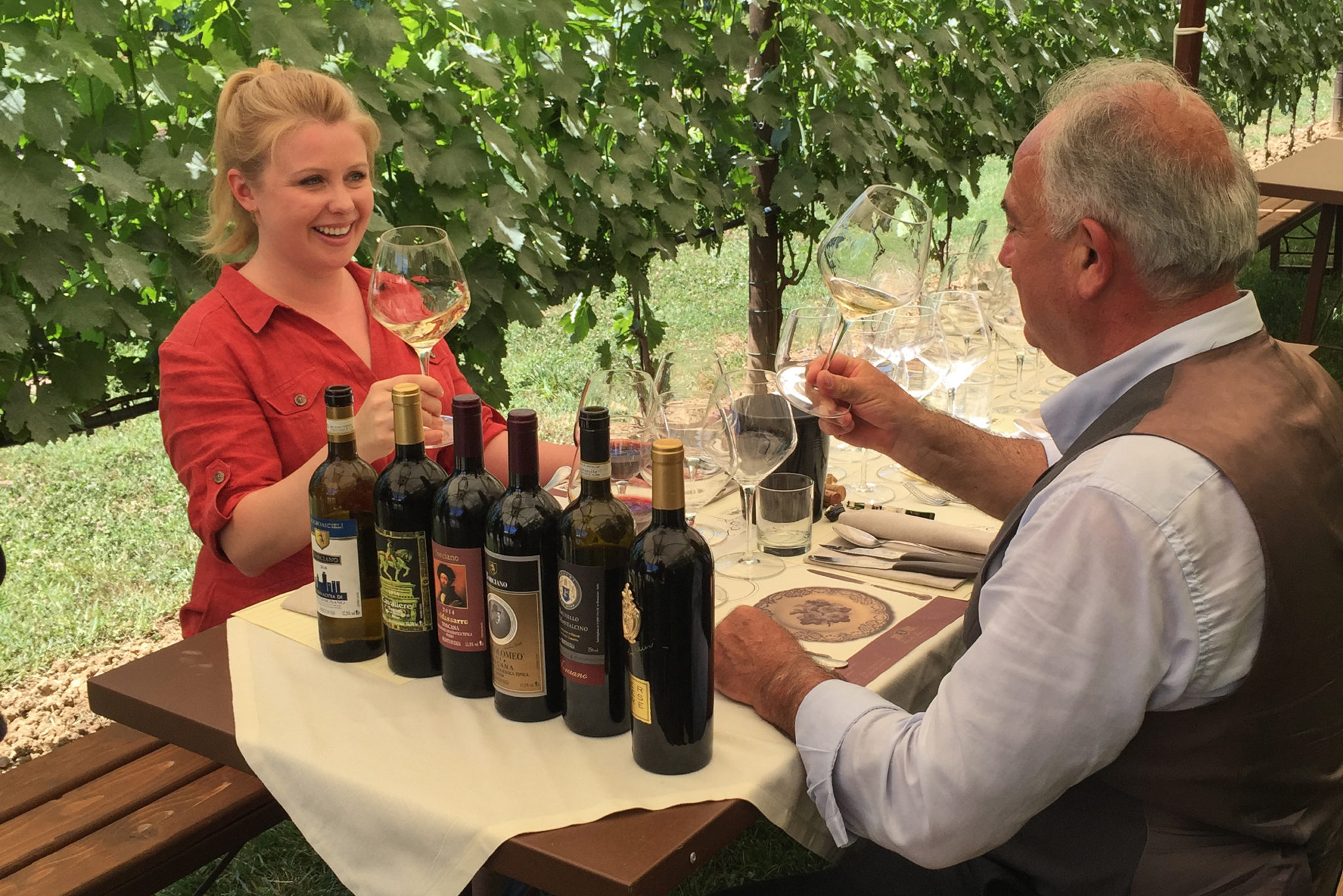 Dine in the Vineyard among the Torciano vine rows