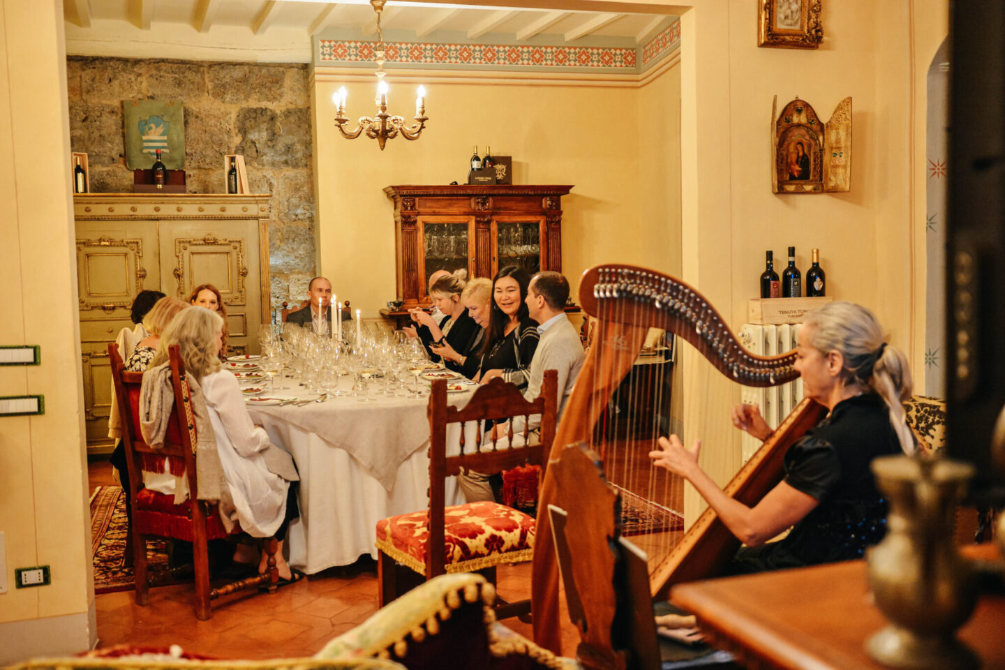music fills the castle dining room